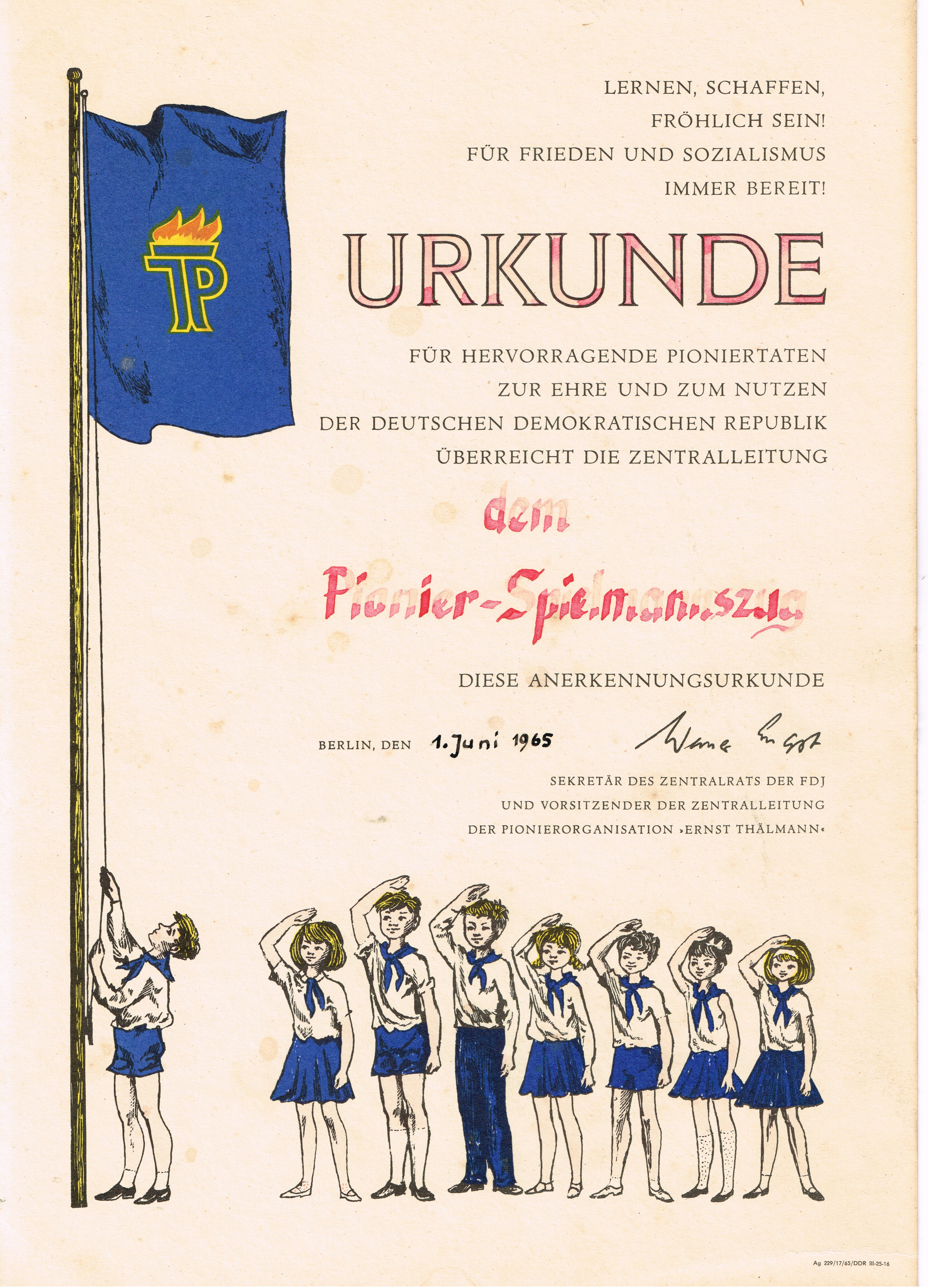 1965 Urkunde Pionierspielmannszug